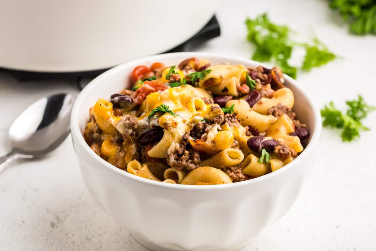 bowl of cheesy chili mac