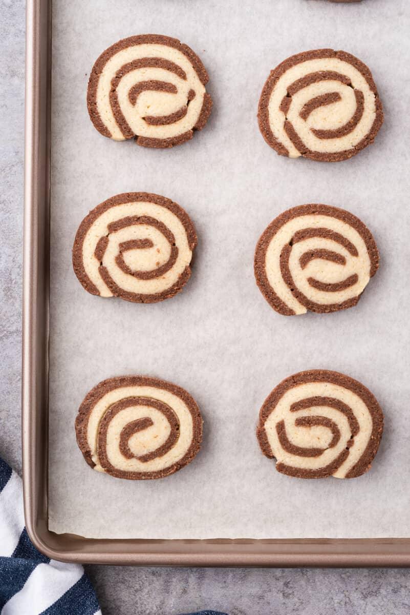 pinwheel cookies on sheet pan