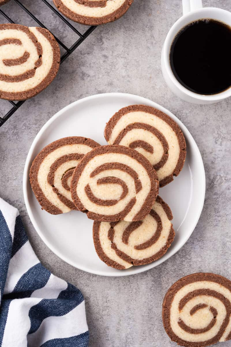 white plate with pinwheel cookies