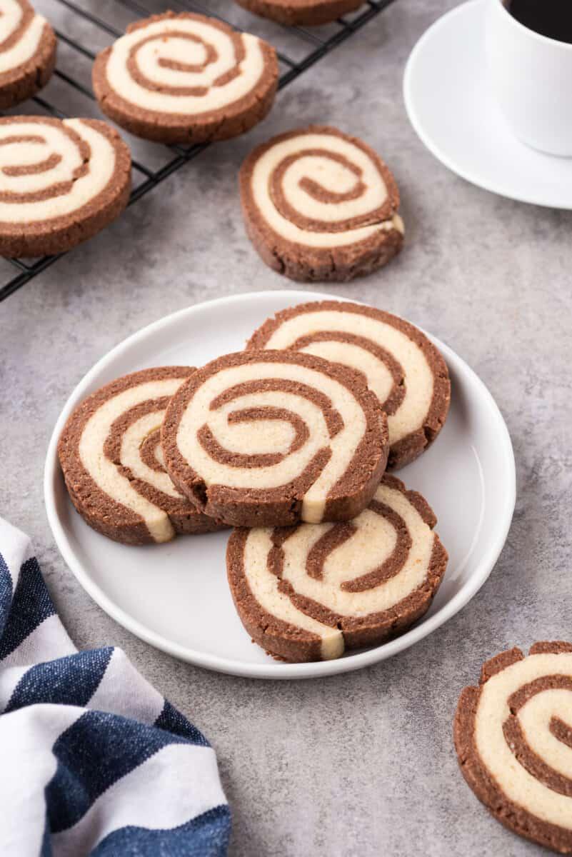 side image of pinwheel cookies on plate