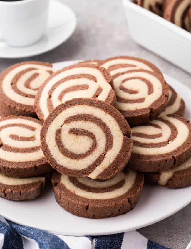 platter with pinwheel cookies