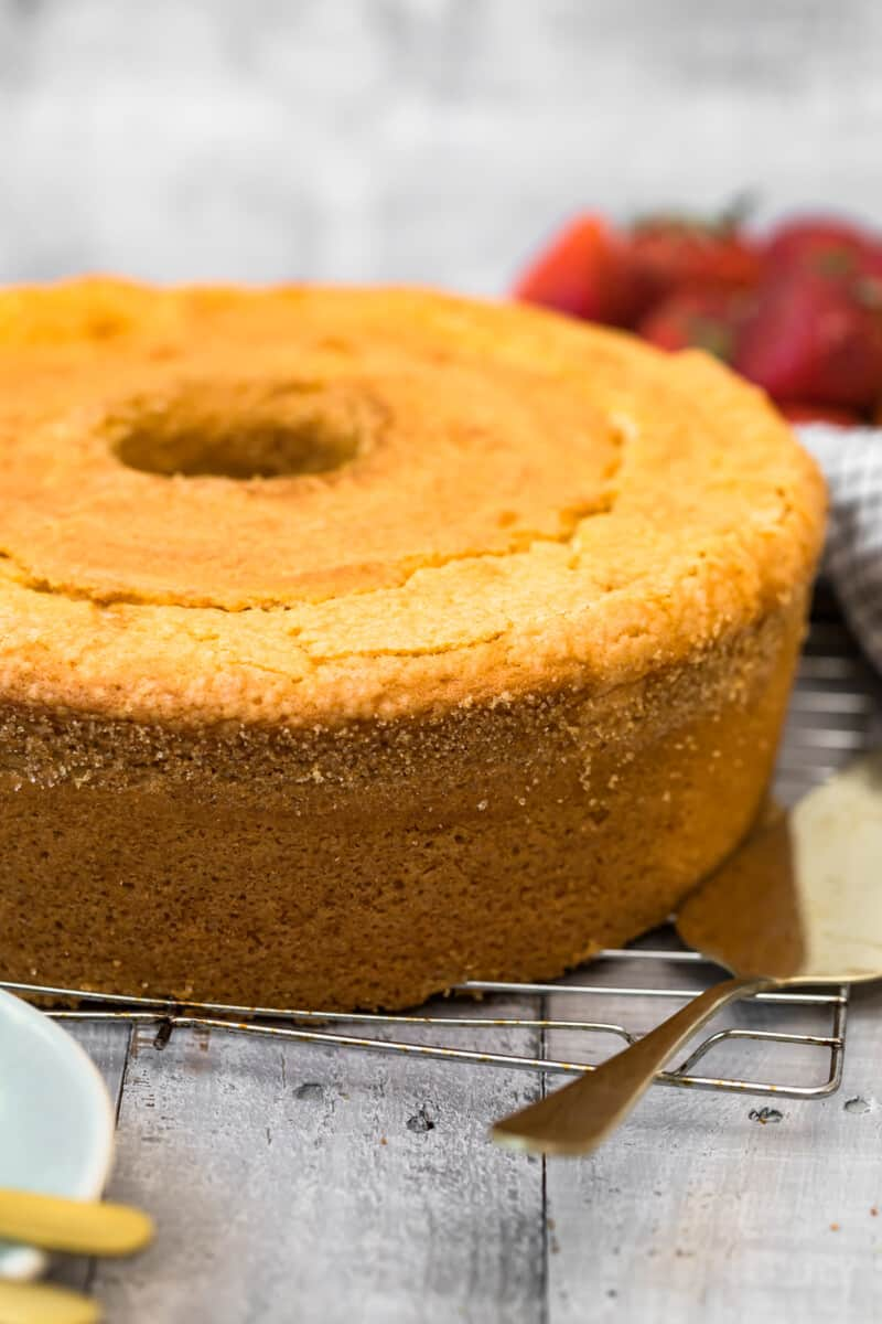 pound cake on cooling rack