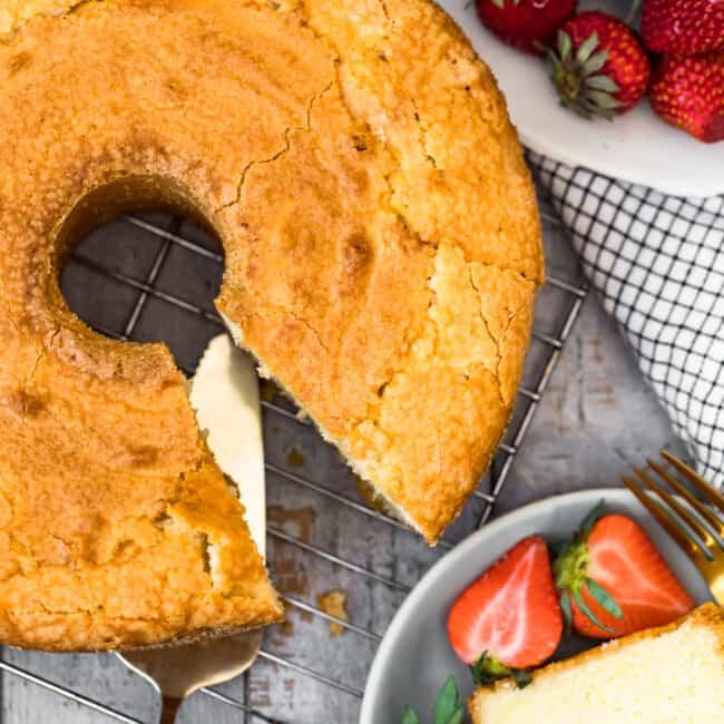 overhead image of pound cake