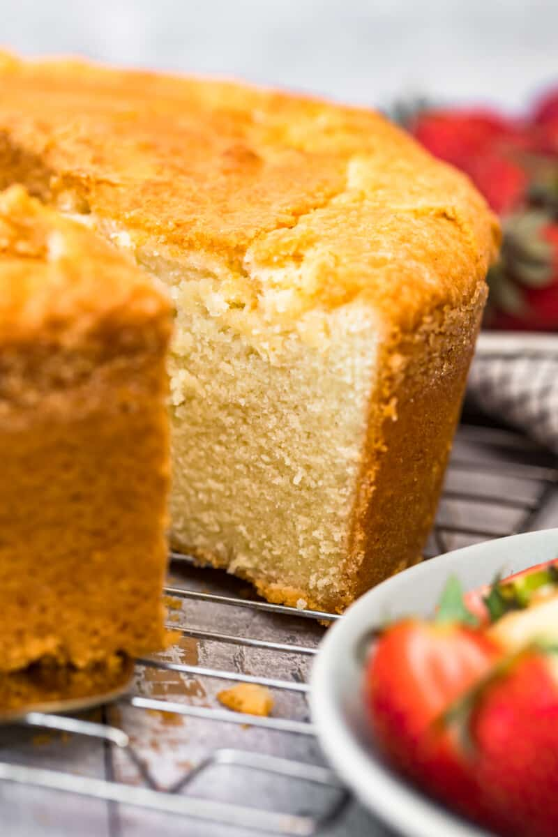 slice out of pound cake
