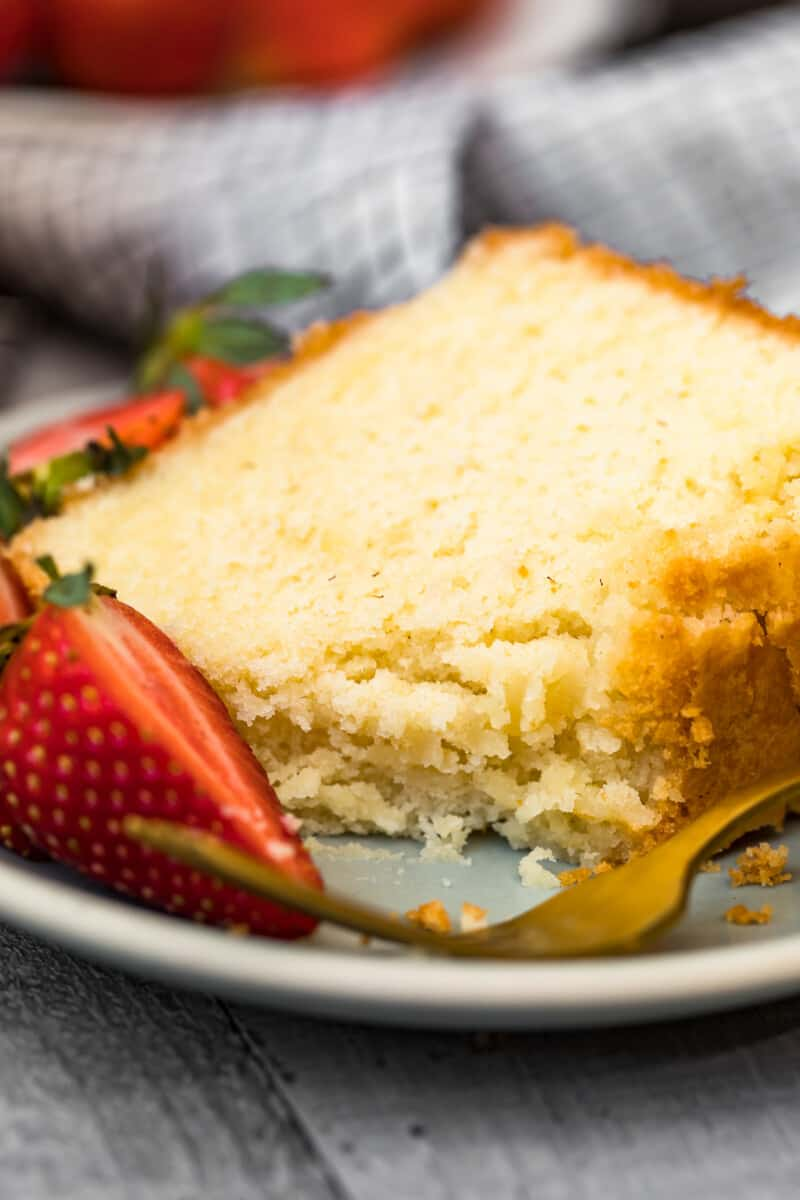 slice of pound cake with bite out