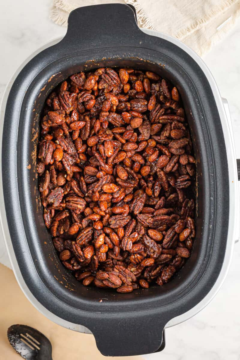 crockpot filled with spiced nuts