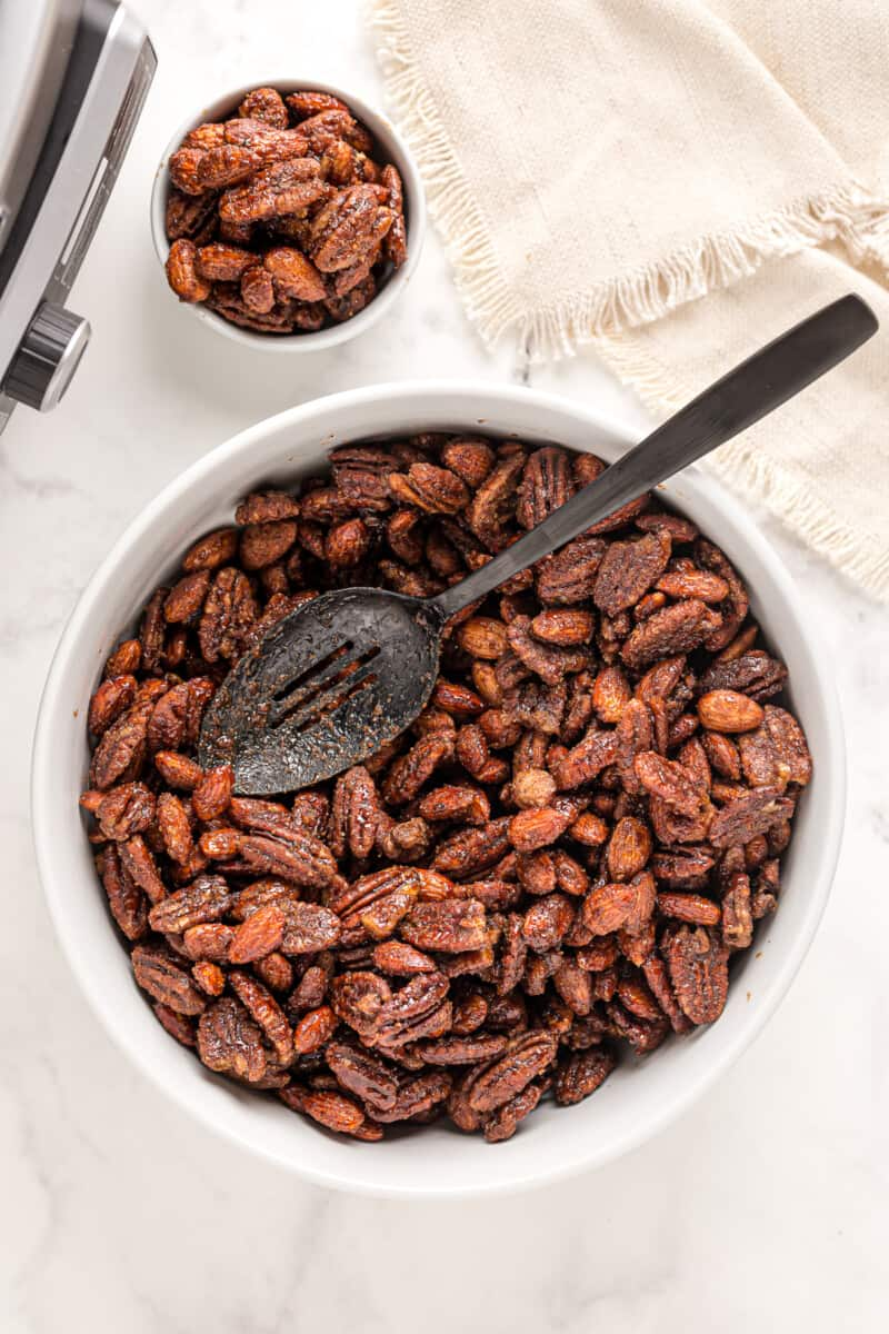 bowl of slow cooker candied nuts