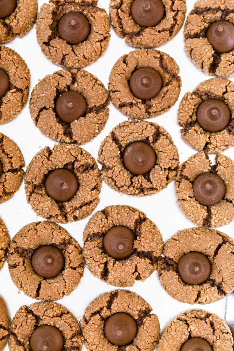 chocolate peanut butter kiss cookies overhead