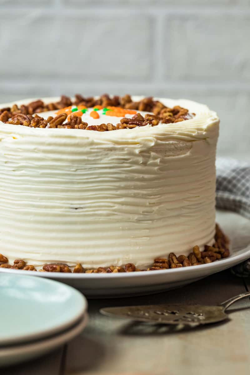 homemade carrot cake with nuts