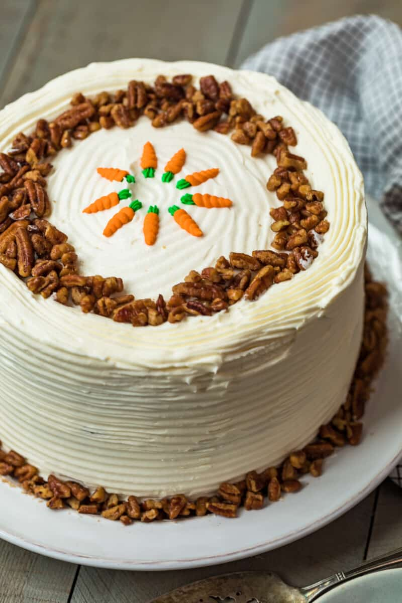 homemade carrot cake with simple decoration