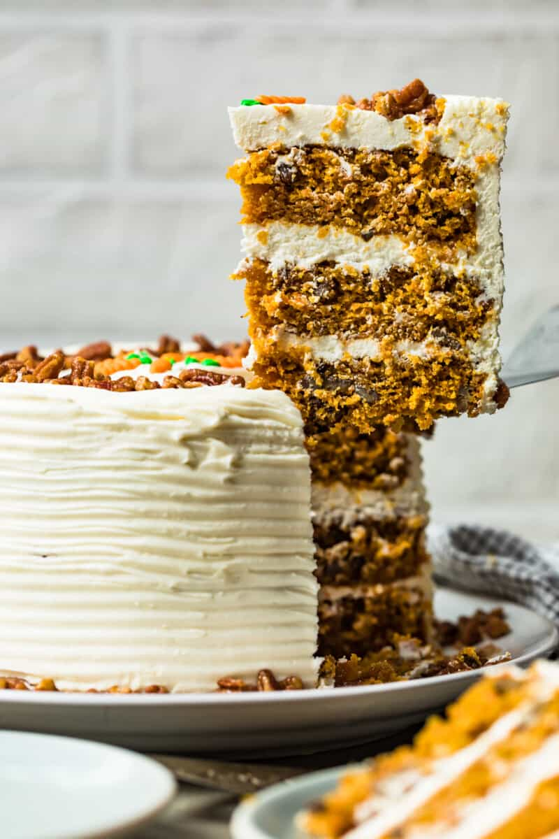 slice of carrot cake with cream cheese icing