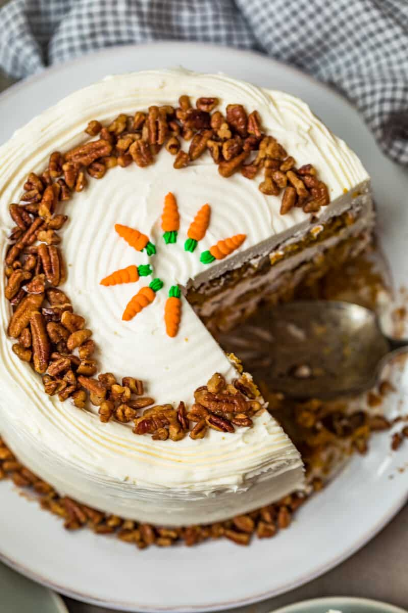 overhead image of carrot cake