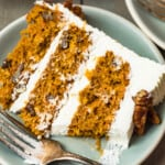 slice of carrot cake on plate