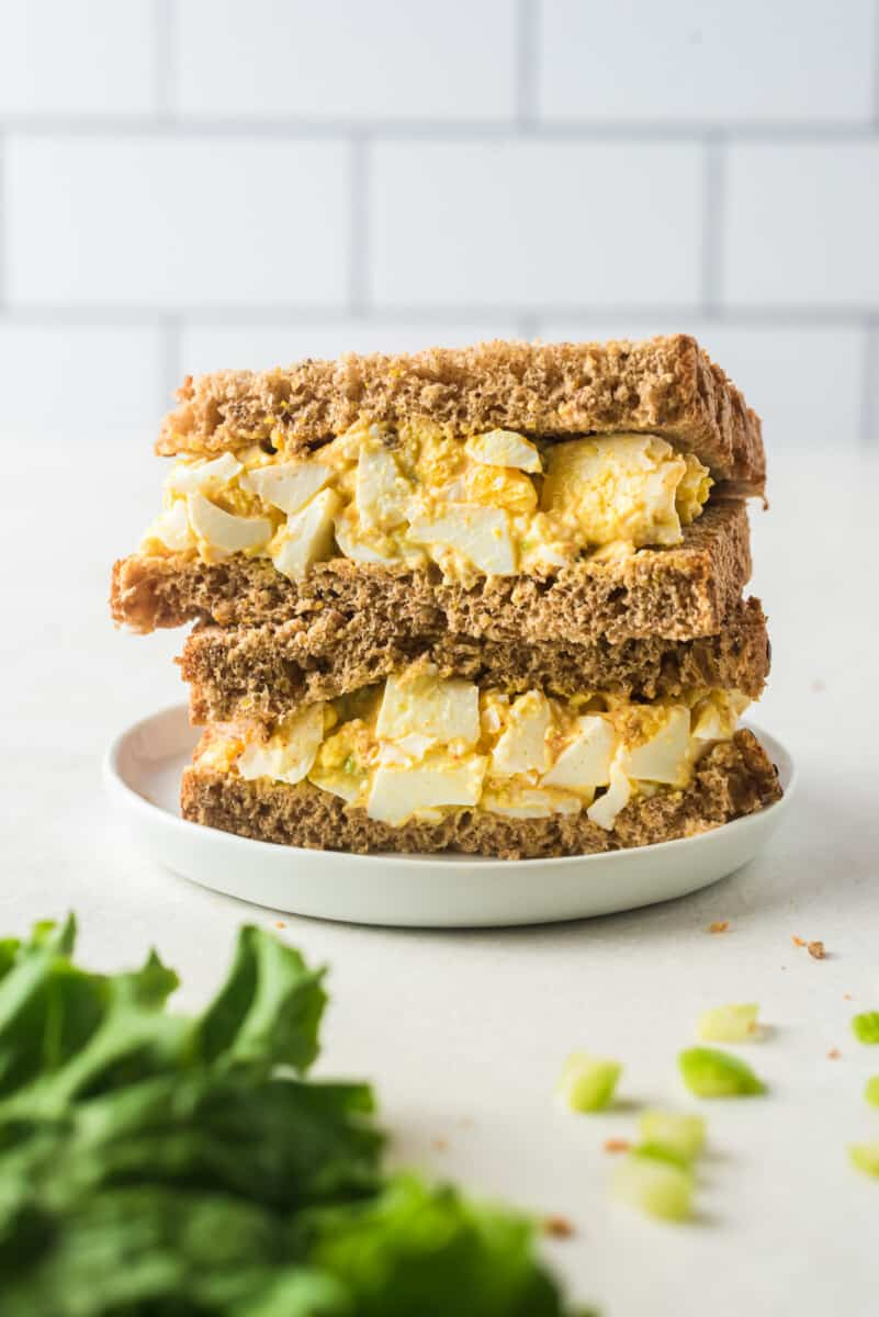 stacked egg salad sandwiches