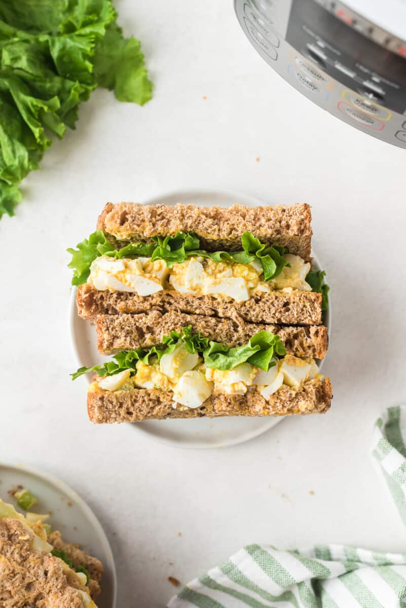 overhead image of instant pot egg salad sandwiches