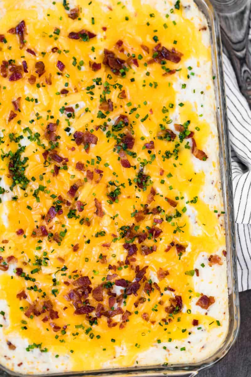 overhead loaded mashed potato casserole in baking dish