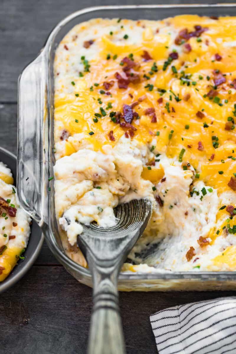 overhead image of loaded mashed potato casserole