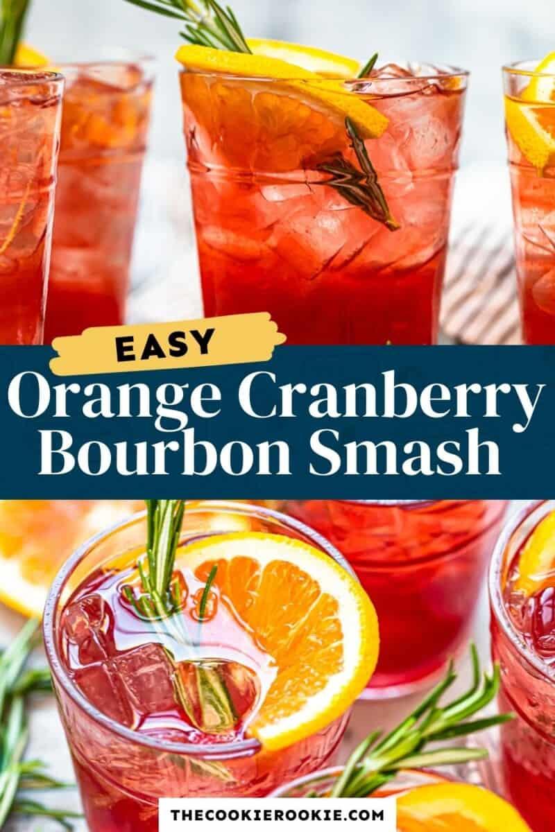 orange cranberry bourbon smash pinterest collage