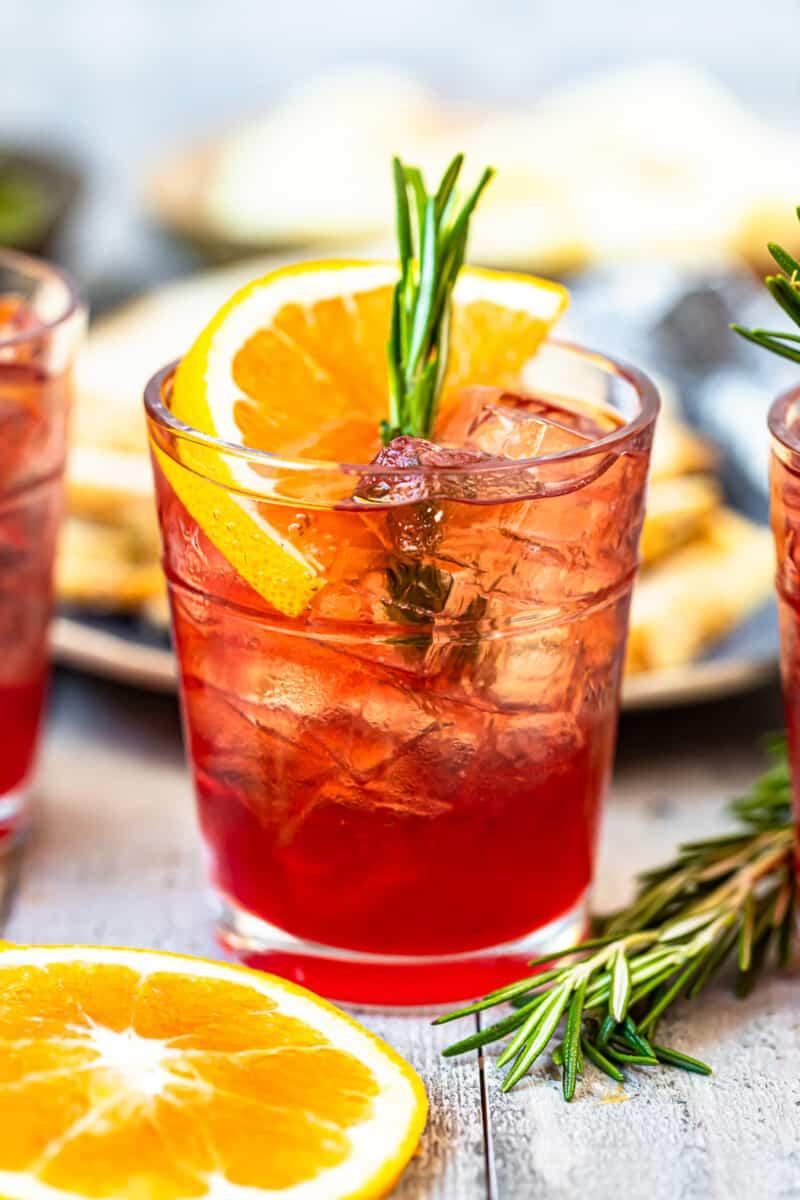 orange cranberry bourbon smash up close