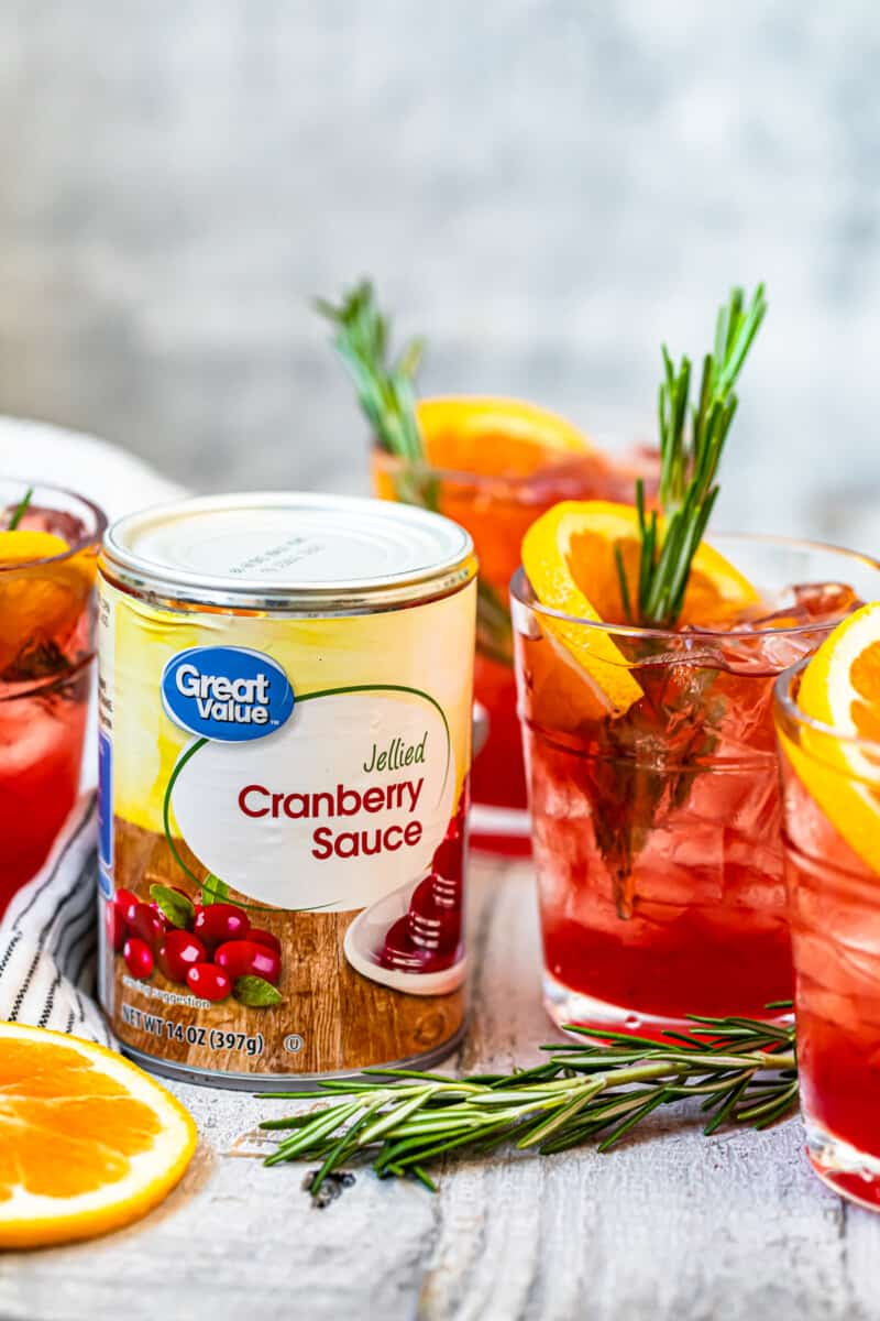 cranberry bourbon smash made with cranberry sauce