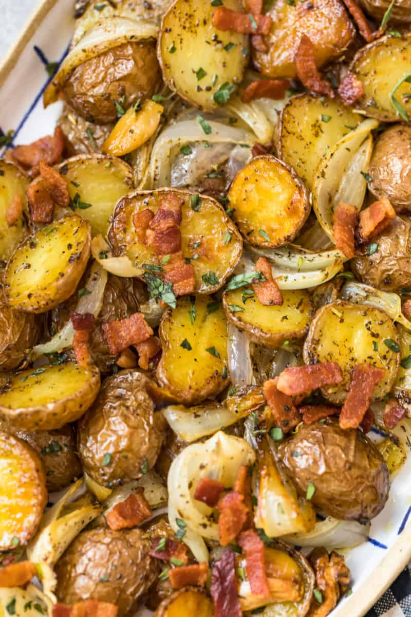 roasted red potatoes with bacon and onions on platter