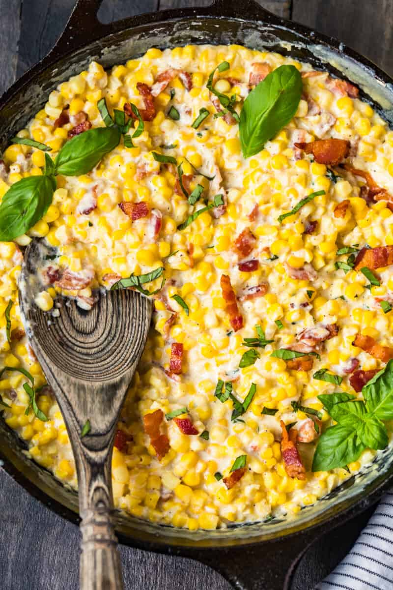 skillet creamed corn with bacon and basil