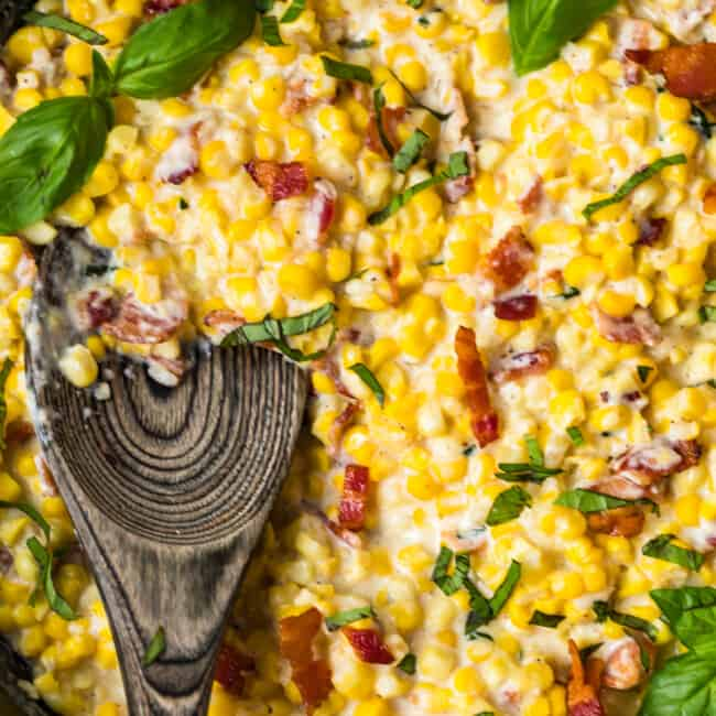up close image of cast iron skillet creamed corn