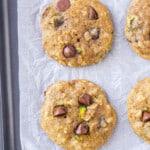 zucchini chocolate chip cookies on sheet pan