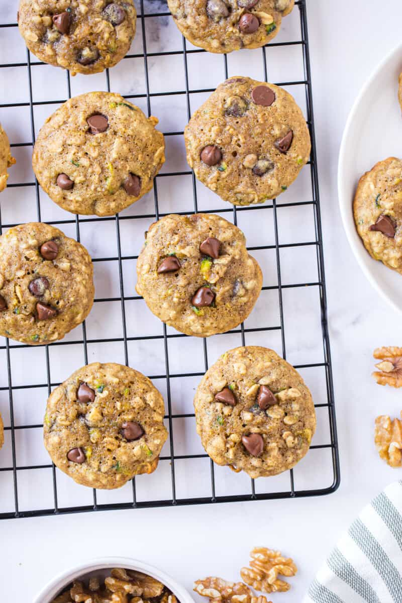 zucchini chocolate chip cookies on cooling rack