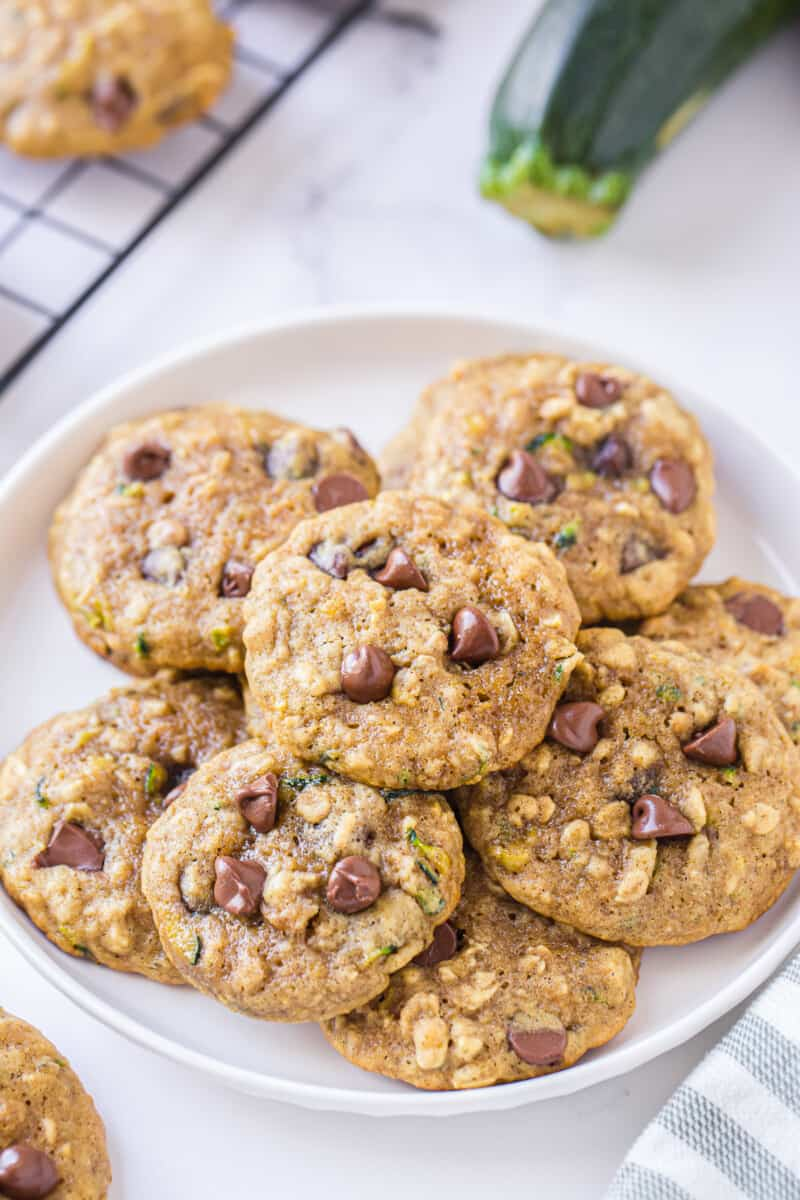 plate with chocolate chip zucchini cookies
