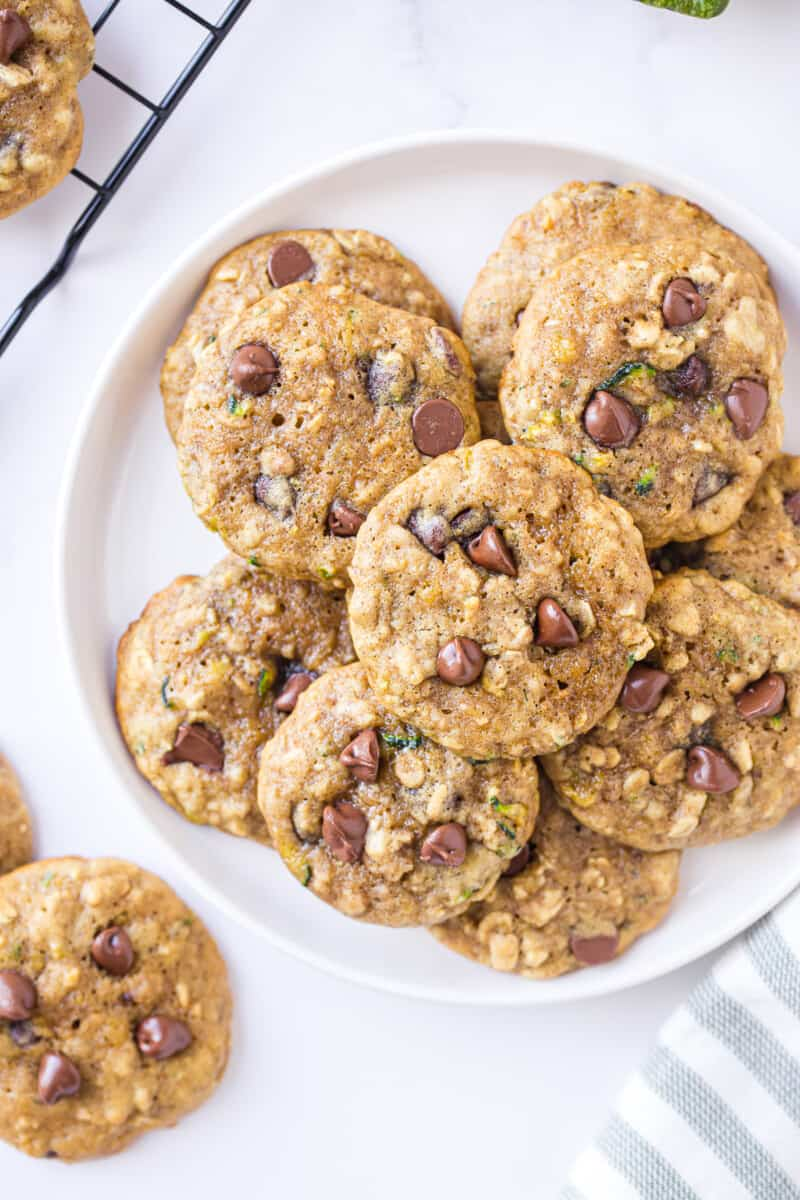 overhead picture of zucchini chocolate chip cookies on platter