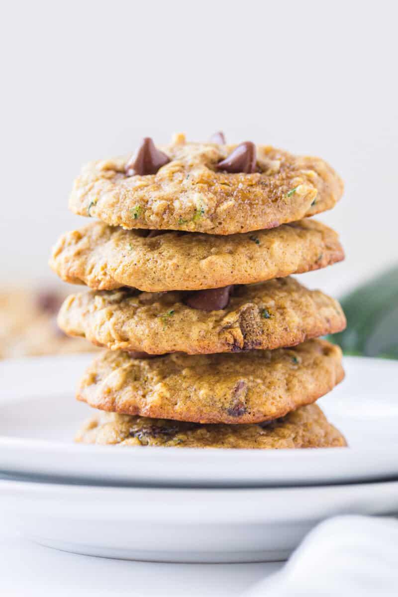 stacked zucchini chocolate chip cookies