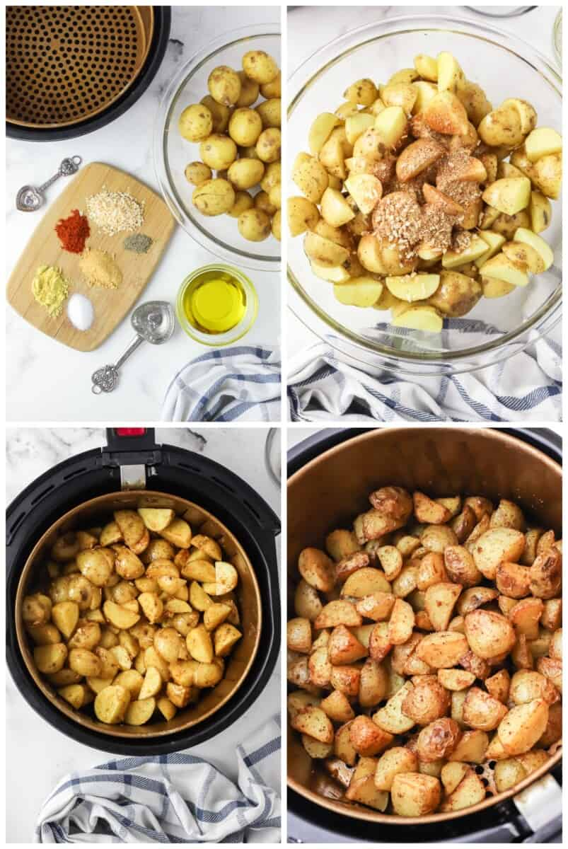 step by step photos of how to make air fryer potatoes
