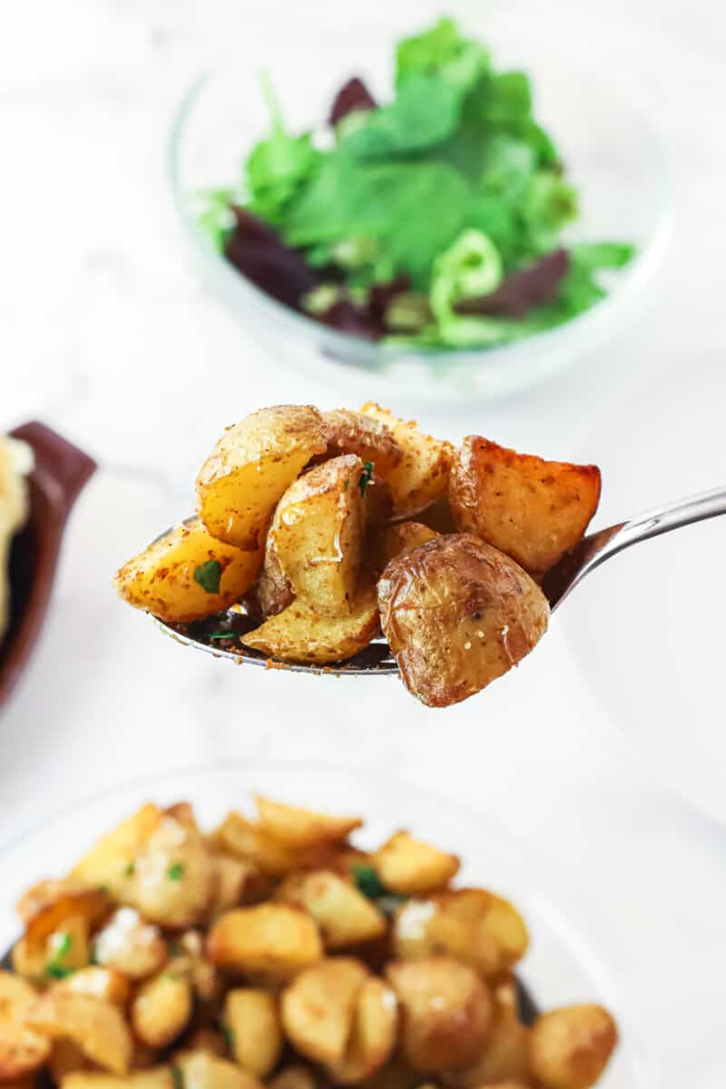 spoonful of air fried potatoes