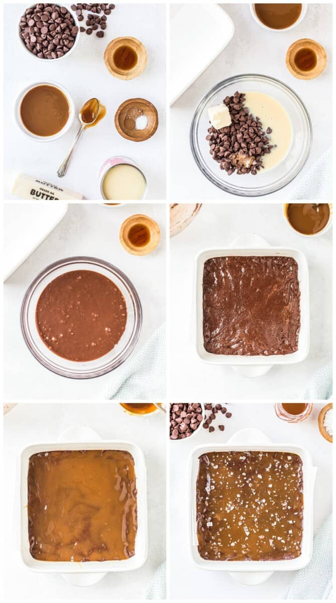 step by step photos for caramel chocolate fudge