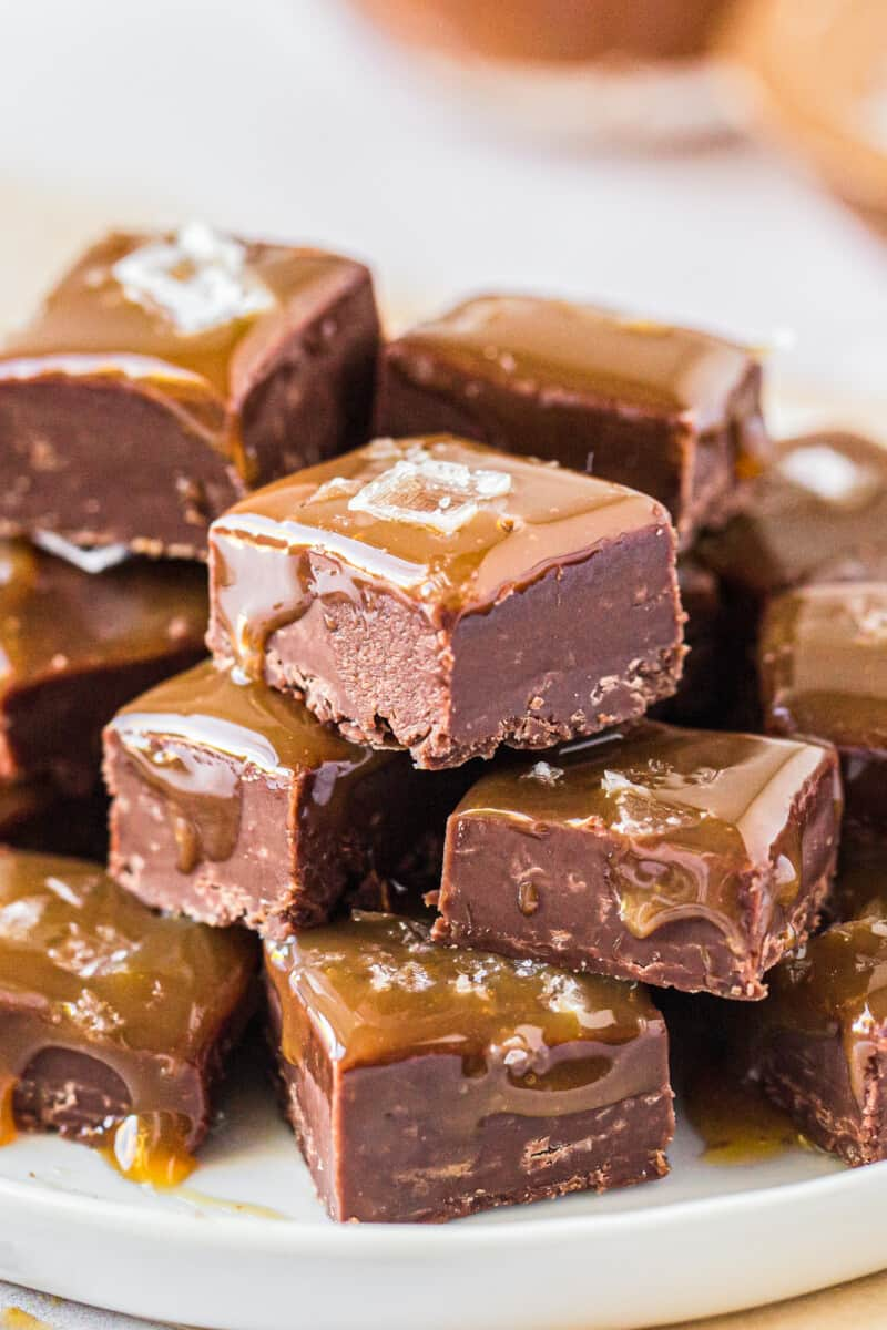 stacked caramel chocolate fudge