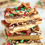 christmas crack, cracker toffee, stacked