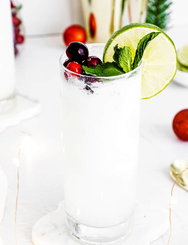 coconut mojito with cranberries