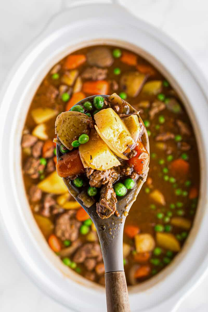 spoonful of crock pot beef stew