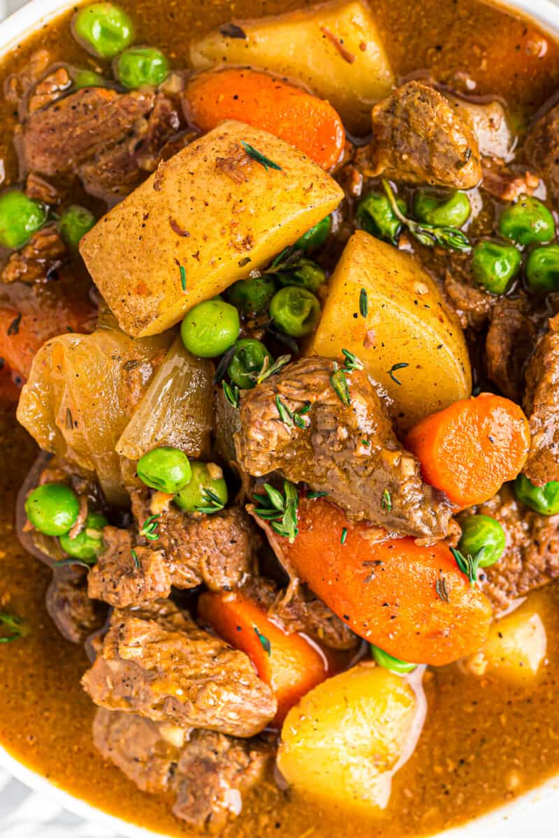 up close image of crockpot beef stew