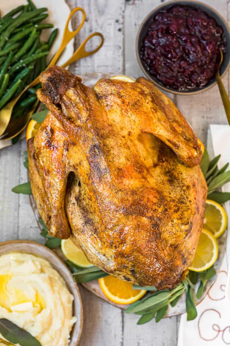 easy roast turkey on platter