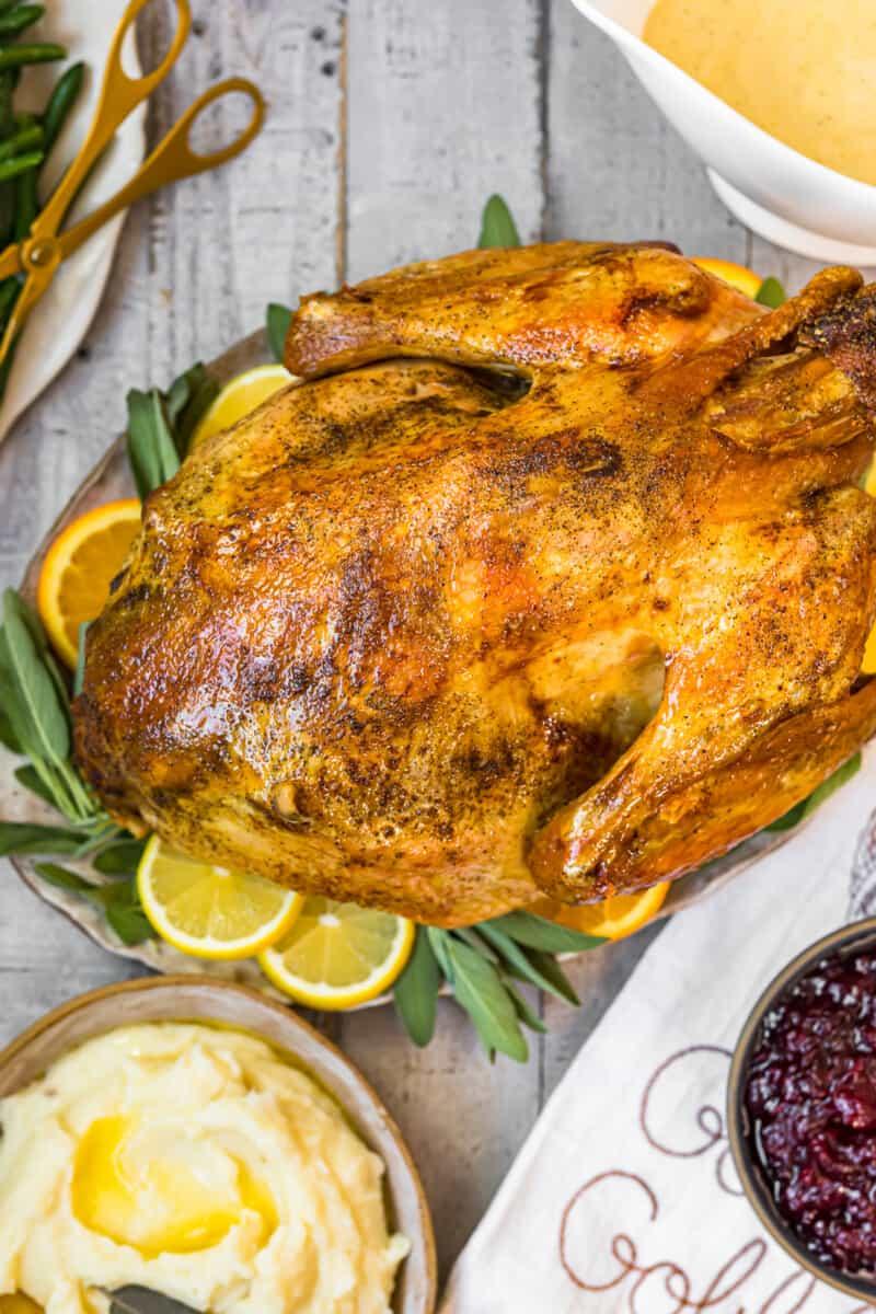 overhead image of roast turkey on platter