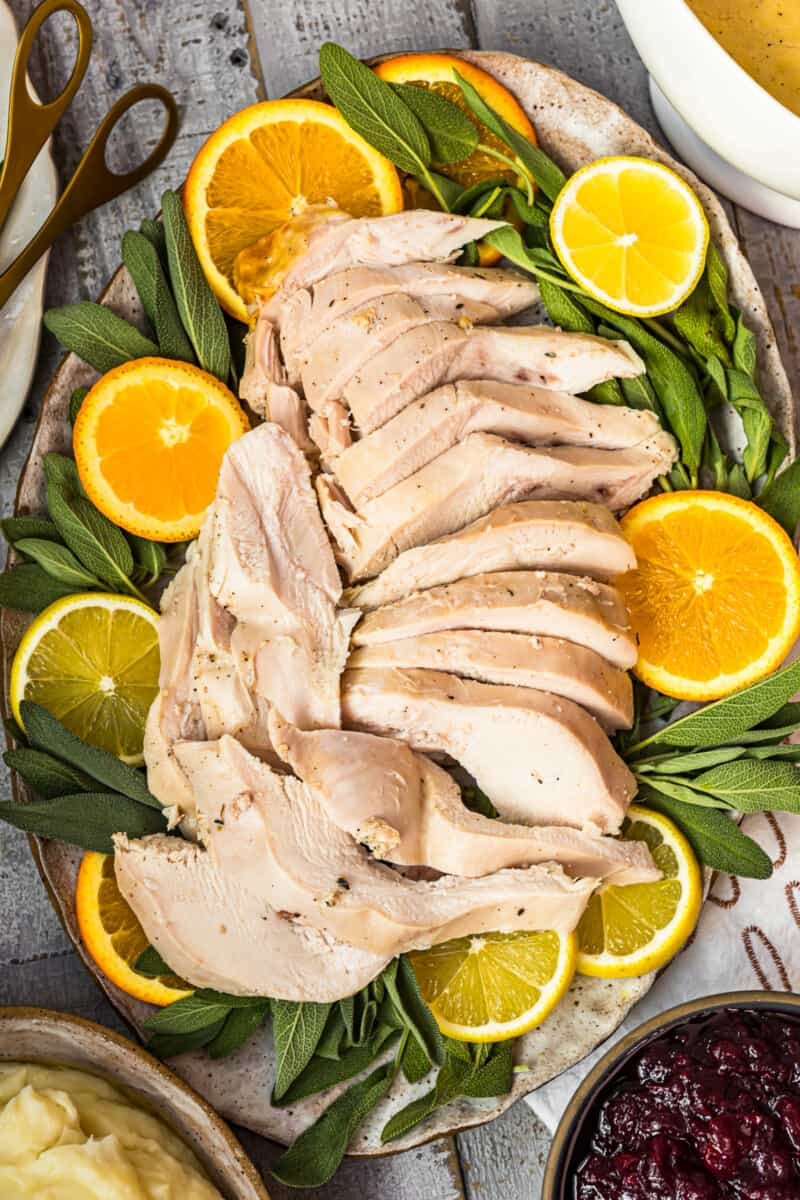 up close image of sliced turkey with citrus