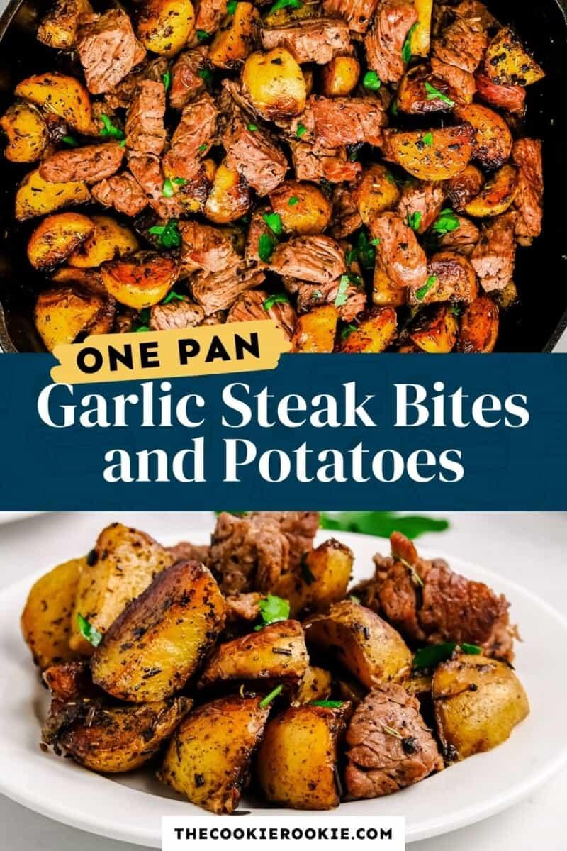 garlic steak bites and potatoes pinterest collage