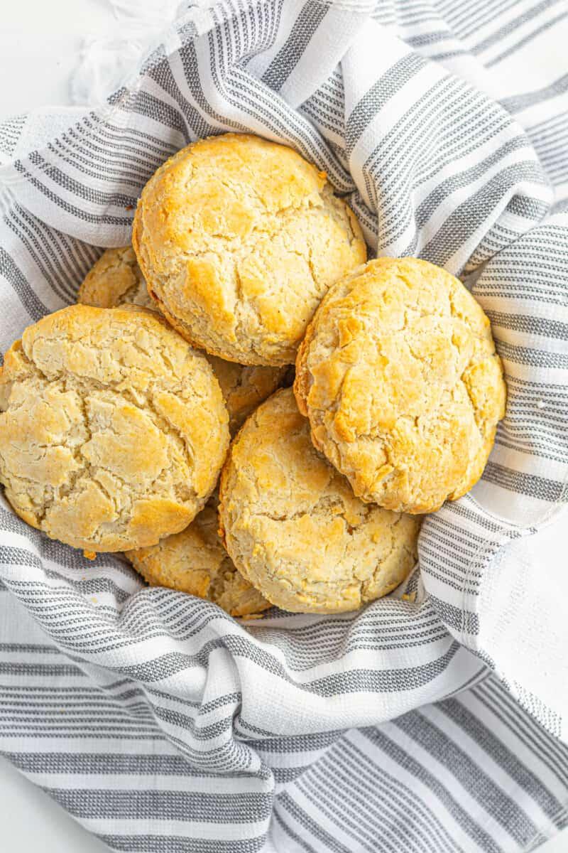 gluten free buttermilk biscuits in basket