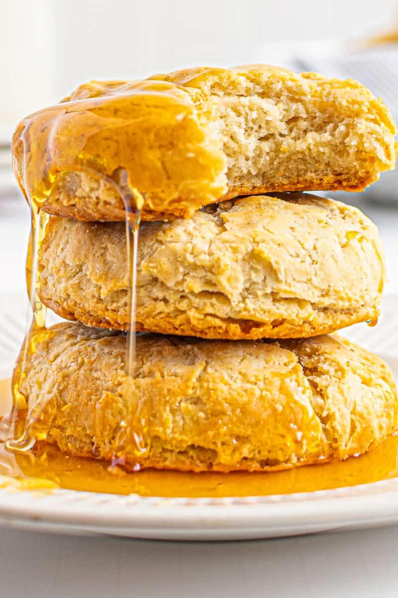 up close gluten free buttermilk biscuits with honey