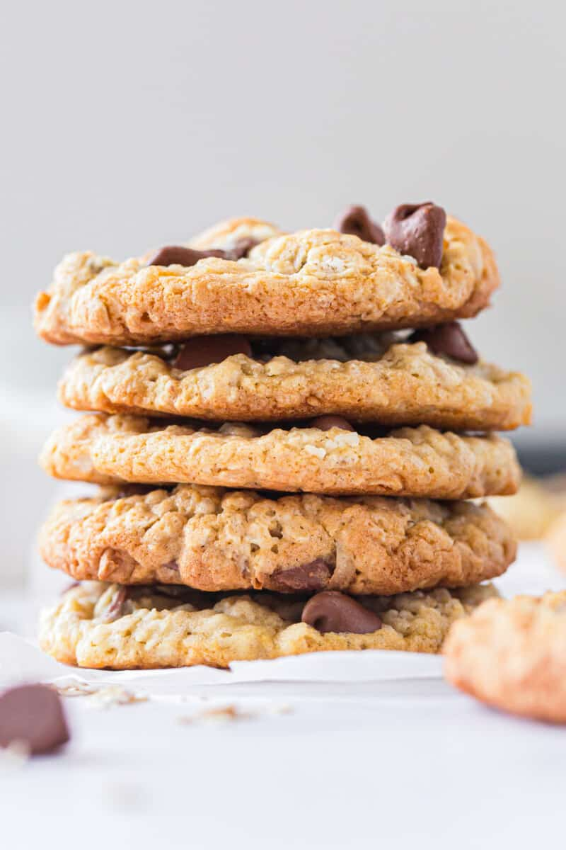 stacked honey oatmeal chocolate chip cookies