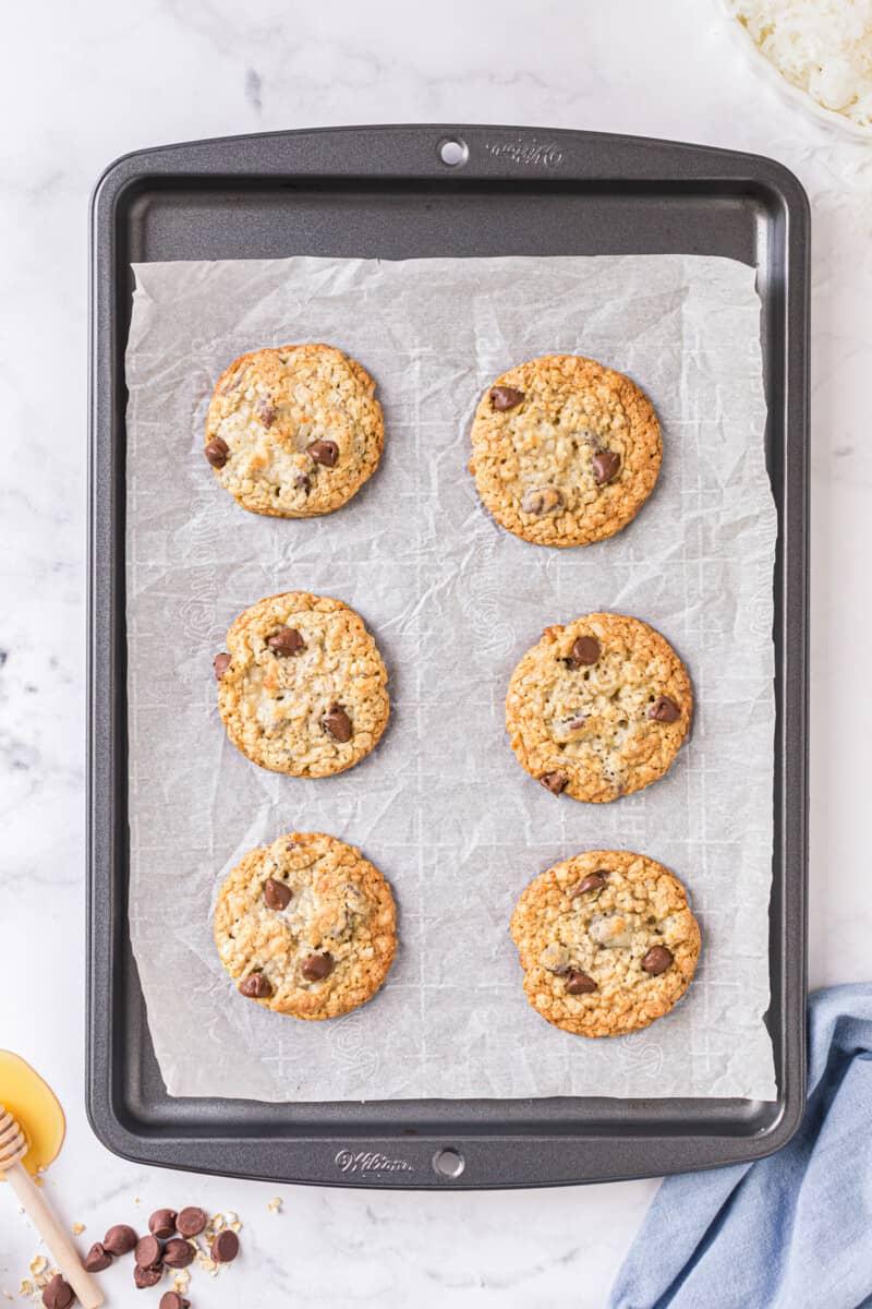 oatmeal chocolate chip cookies on sheet pan