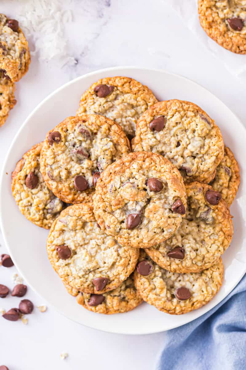 oatmeal chocolate chip cookies sweetened with honey on platter
