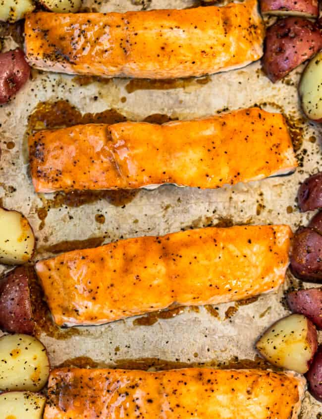 maple glazed salmon on sheet pan